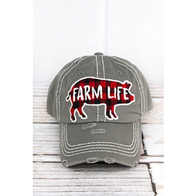 Farm Life Buffalo Plaid Pig Cap