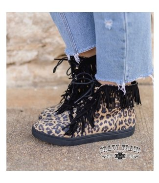 Crazy Train Clothing Fringe Leopard High Top Shoe