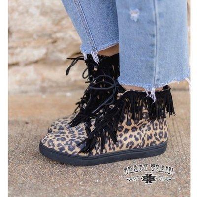 Crazy Train Clothing Fringe Leopard High Top Shoe