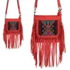 Coral Tassle Crossbody Bag