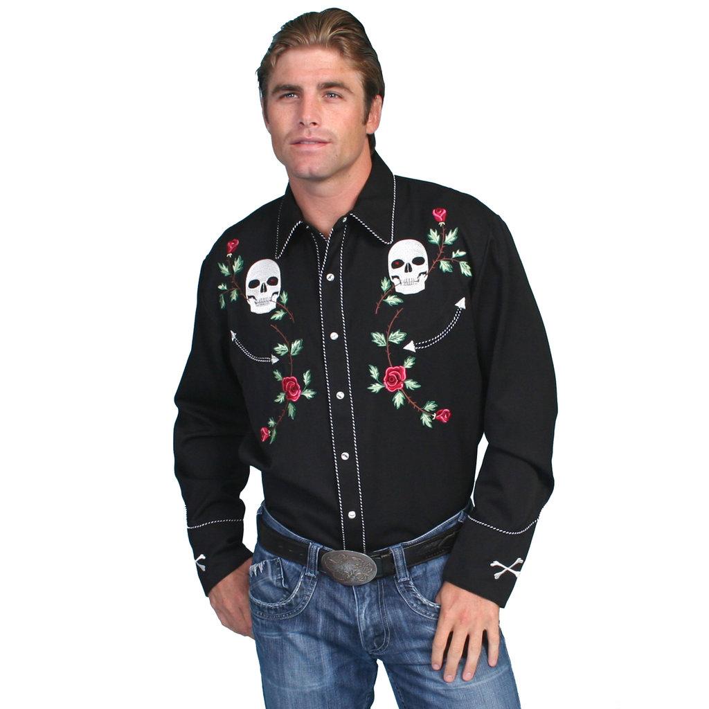 Scully Retro Skull & Roses Snap Shirt