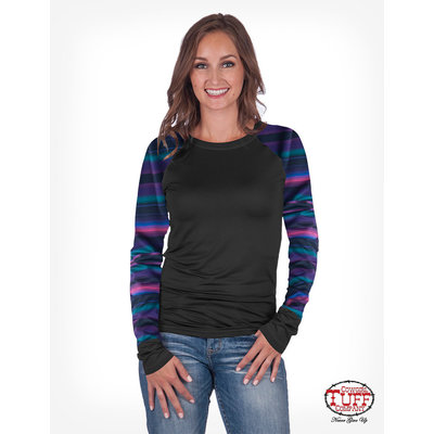 Cowgirl Tuff Black and Serape Raglan LS