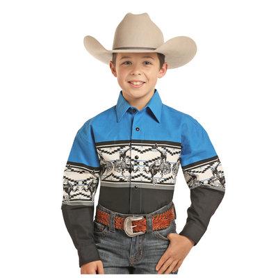 Panhandle Slim Child's Blue Long Sleeve Snap Shirt C0S3055
