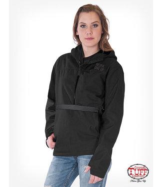 Cowgirl Tuff Black Microfiber Pullover Hooded Jacket