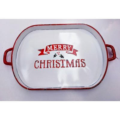 Merry Christmas Enamelware Tray