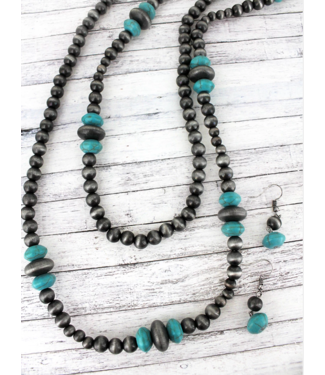 Dark Pearl Turquoise Long Necklace Earring Set