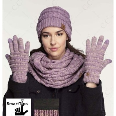 Two Toned Ribbed Glove with Lining