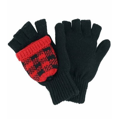 Buffalo Plaid Convertible Gloves