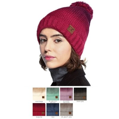 C.C. Gradient Pom Beanie with Lining