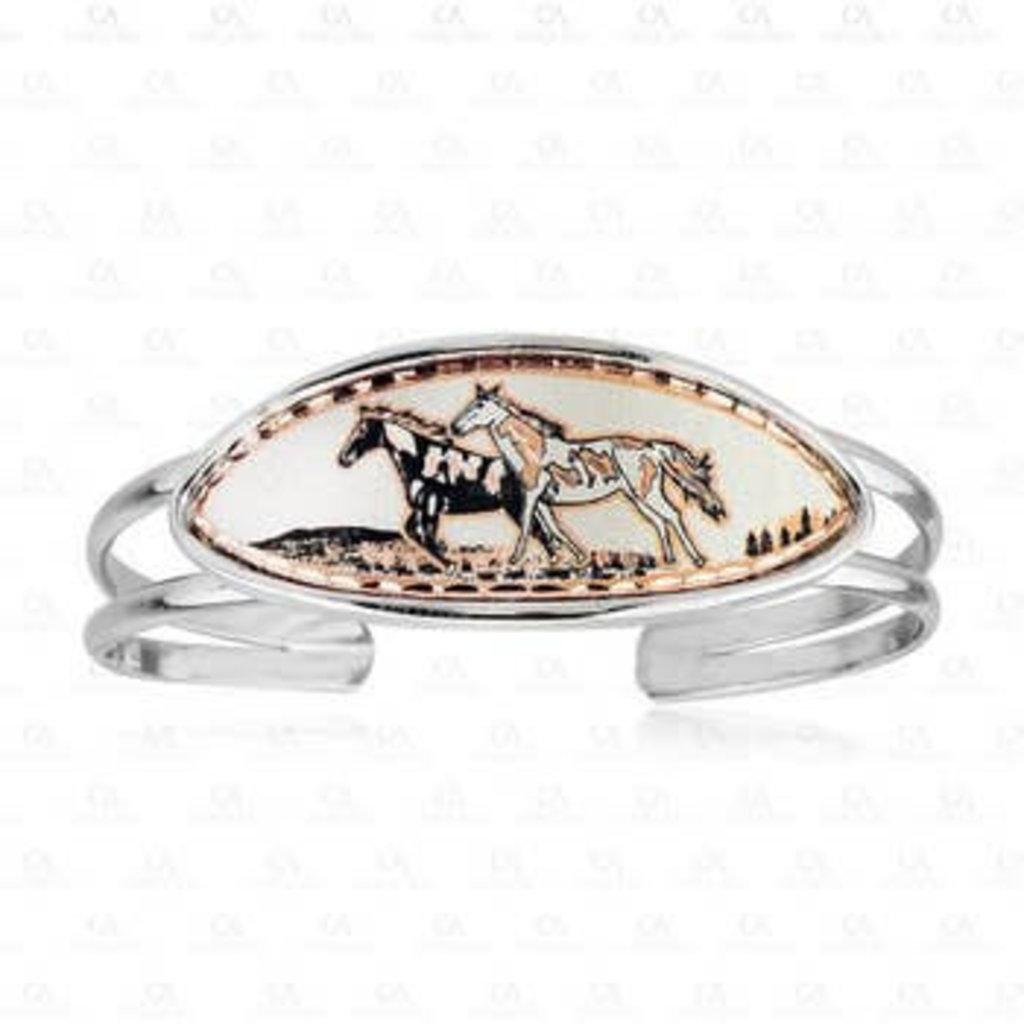Copper & Silvertone Horse Bracelet