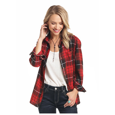 Panhandle Slim Red Black Plaid Flannel