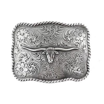 Longhorn Buckle Antique Silver H8143