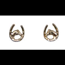 Horse Shoe Horse Head Gold Plate Earrings