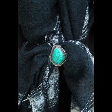 Silvertone Turquoise Stone Scarf Slide