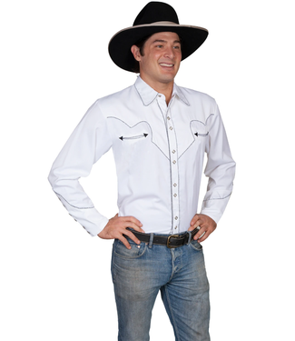Scully Scully Western Mens White Polyester Button Up