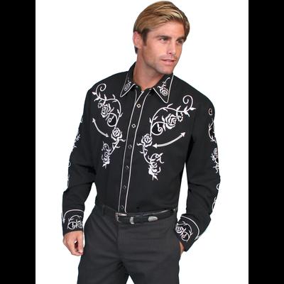 Scully Western Mens Jet Black Polyester L/S Big Rose Western Shirt