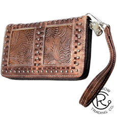 Brown Leather Zippered Wristlet With Silver Studs