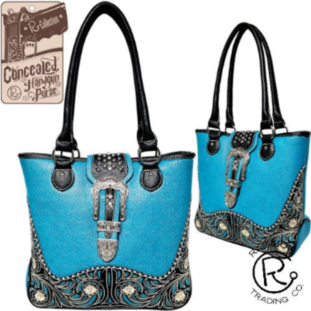Turquoise Conceal & Carry Handbag W/ Floral Tooling