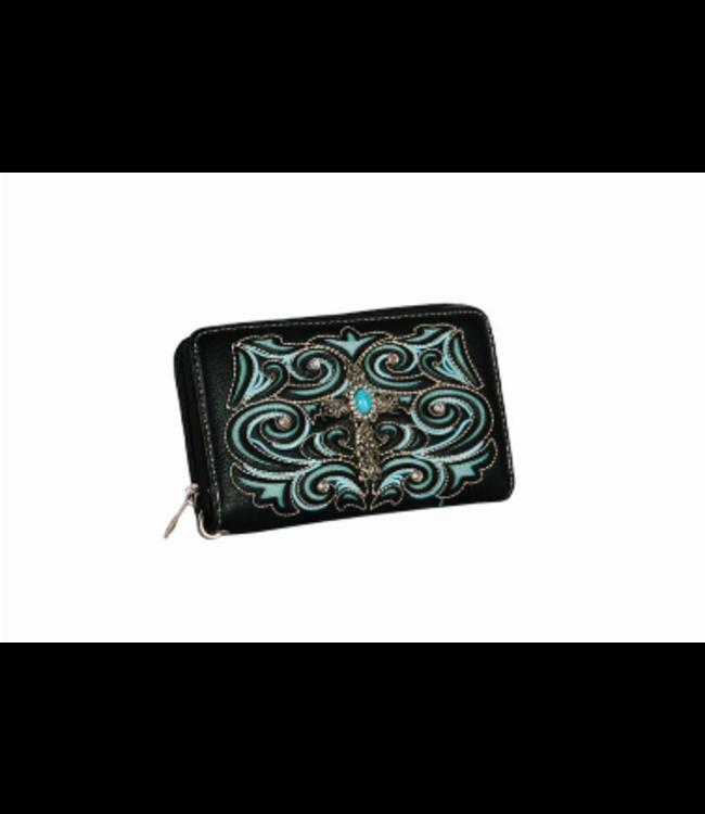 Black Cross Concho ZIpper Wallet