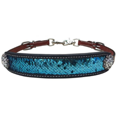 Showman Teal/Silver Sequins Inlay Wither Strap