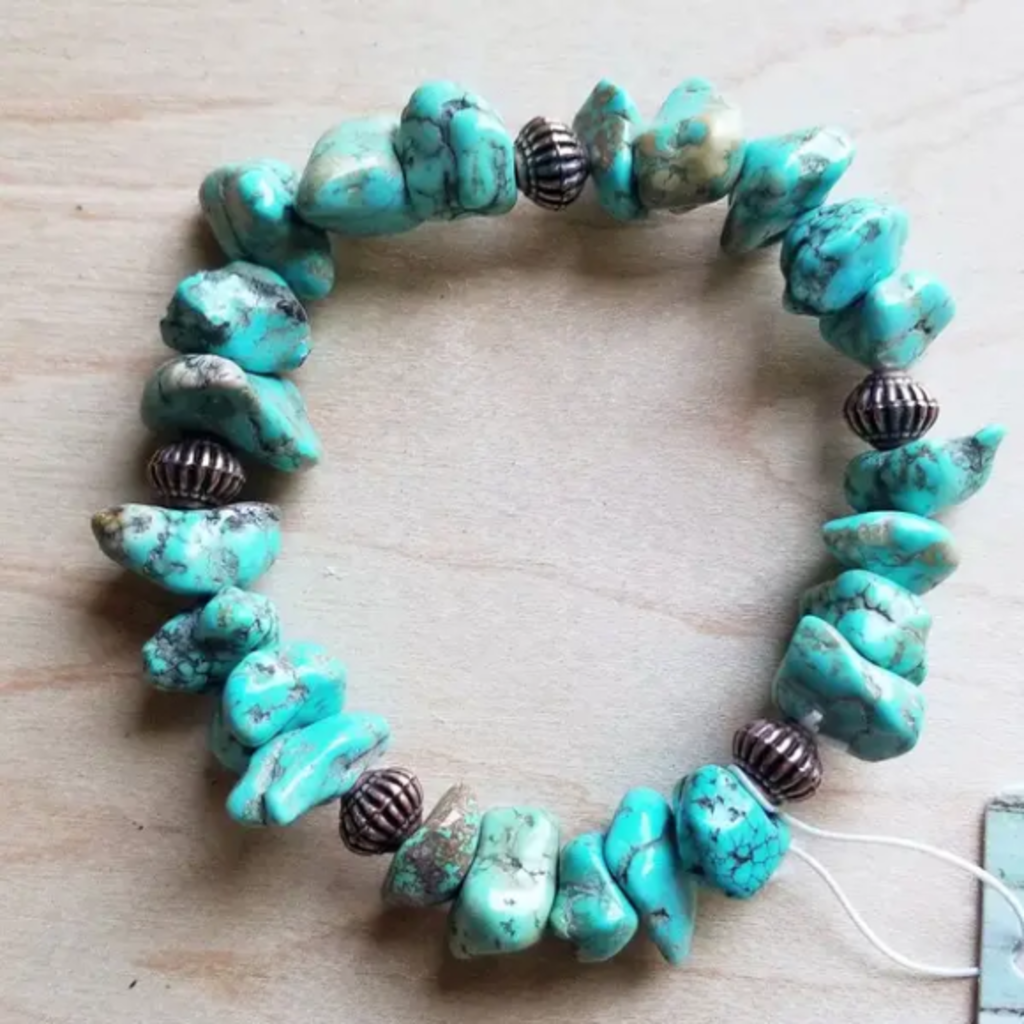 Turquoise and Copper Bead Stretch Bracelet