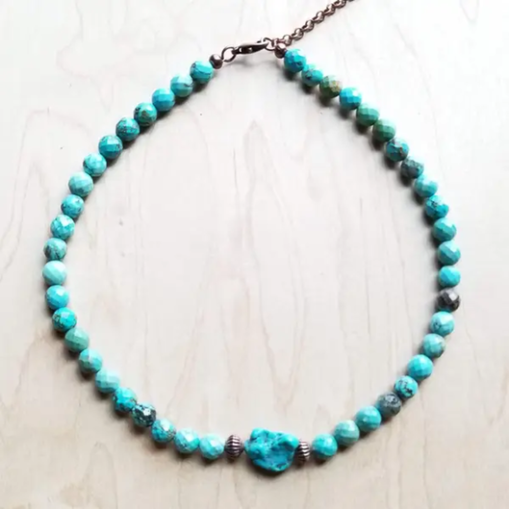 Turquoise Stone Bead Choker Necklace