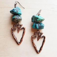 Turquoise Earrings w/ Copper Arrowhead