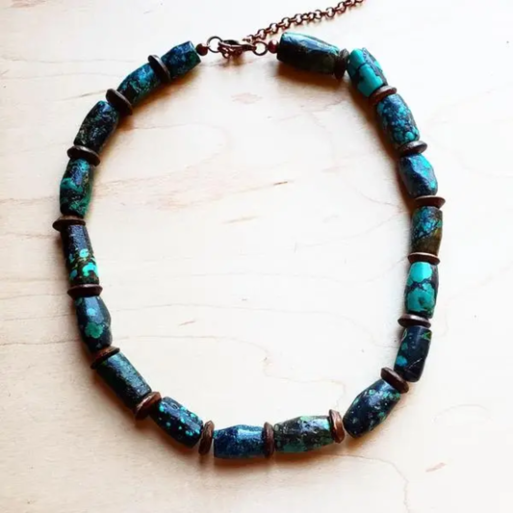 Turquoise Barrel Beaded Necklace