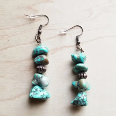Stacked Turquoise and Copper Earring