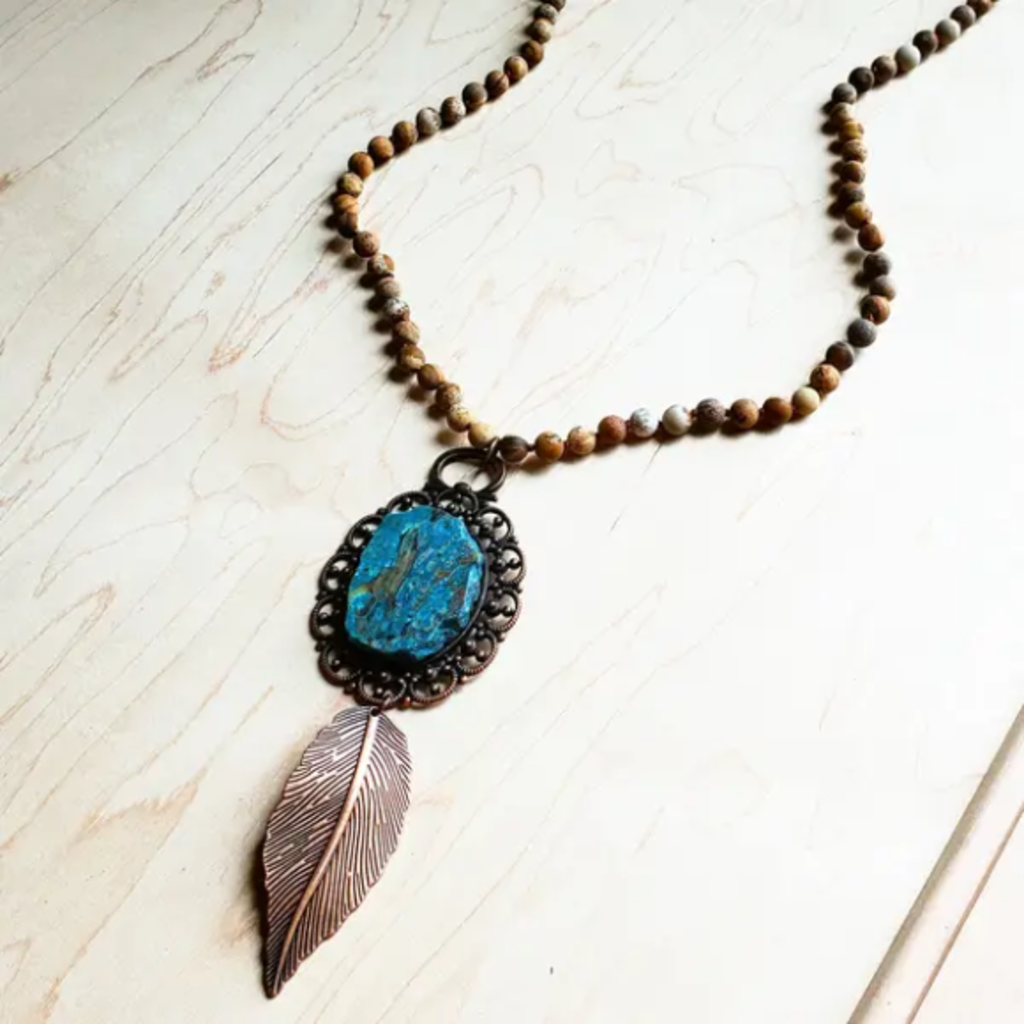 Jasper Necklace w/ Ocean Agate on Copper Medallion