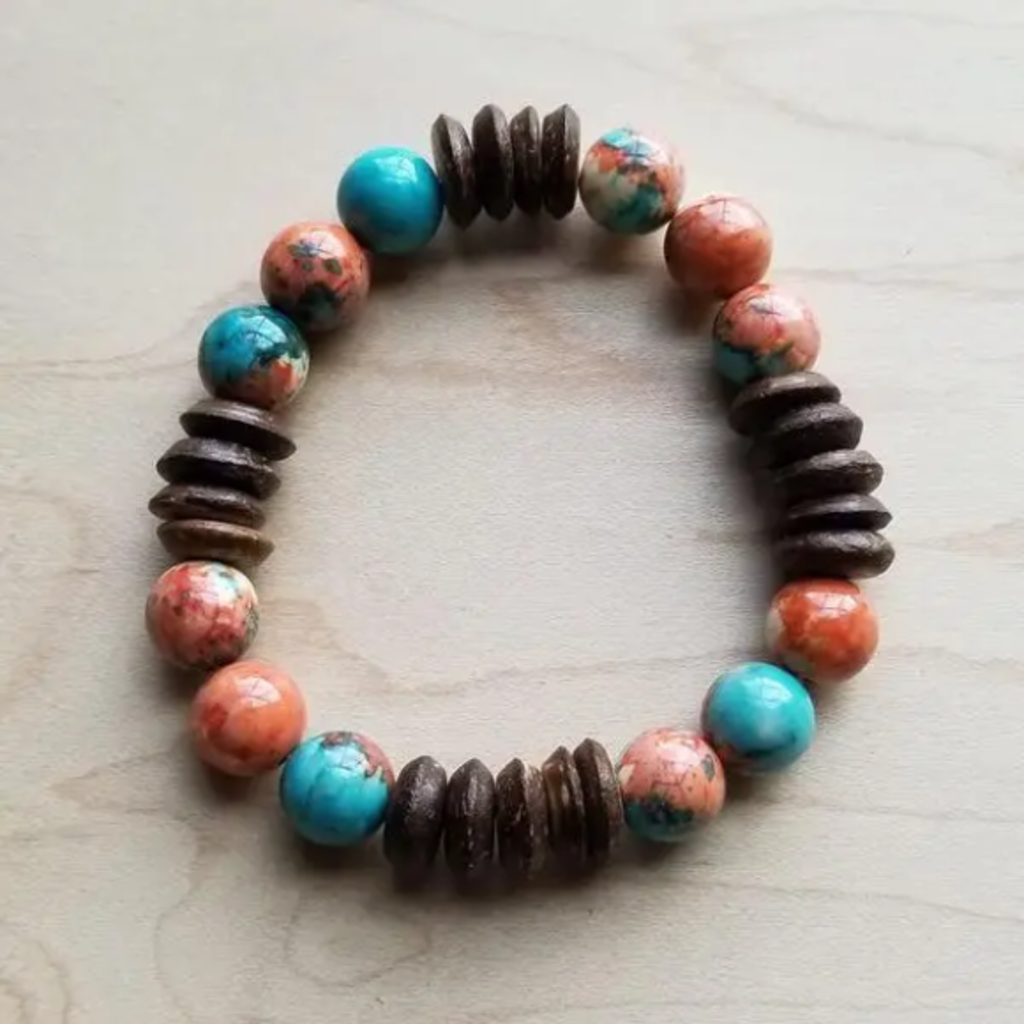 Multi-Colored Turquoise and Wood Stretch Bracelet