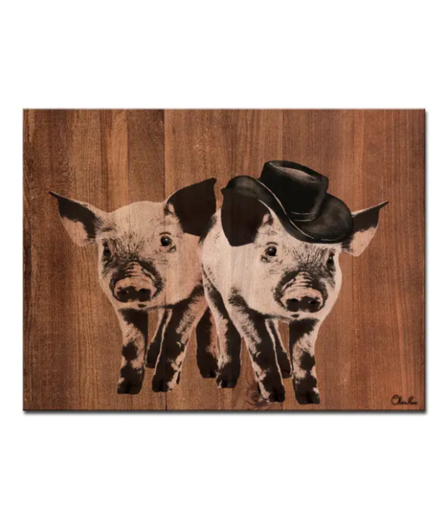 Pig Duo Canvas Wall Art 16x20