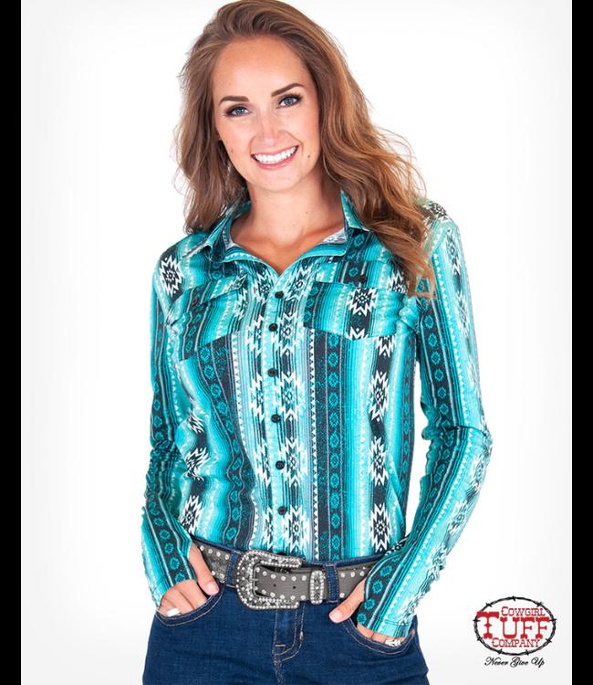 Cowgirl Tuff Aztec Print Sport Jersey Pullover