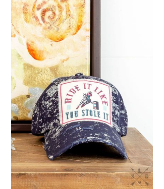 Ride it Like You Stole It Patch on Navy Spatter Hat