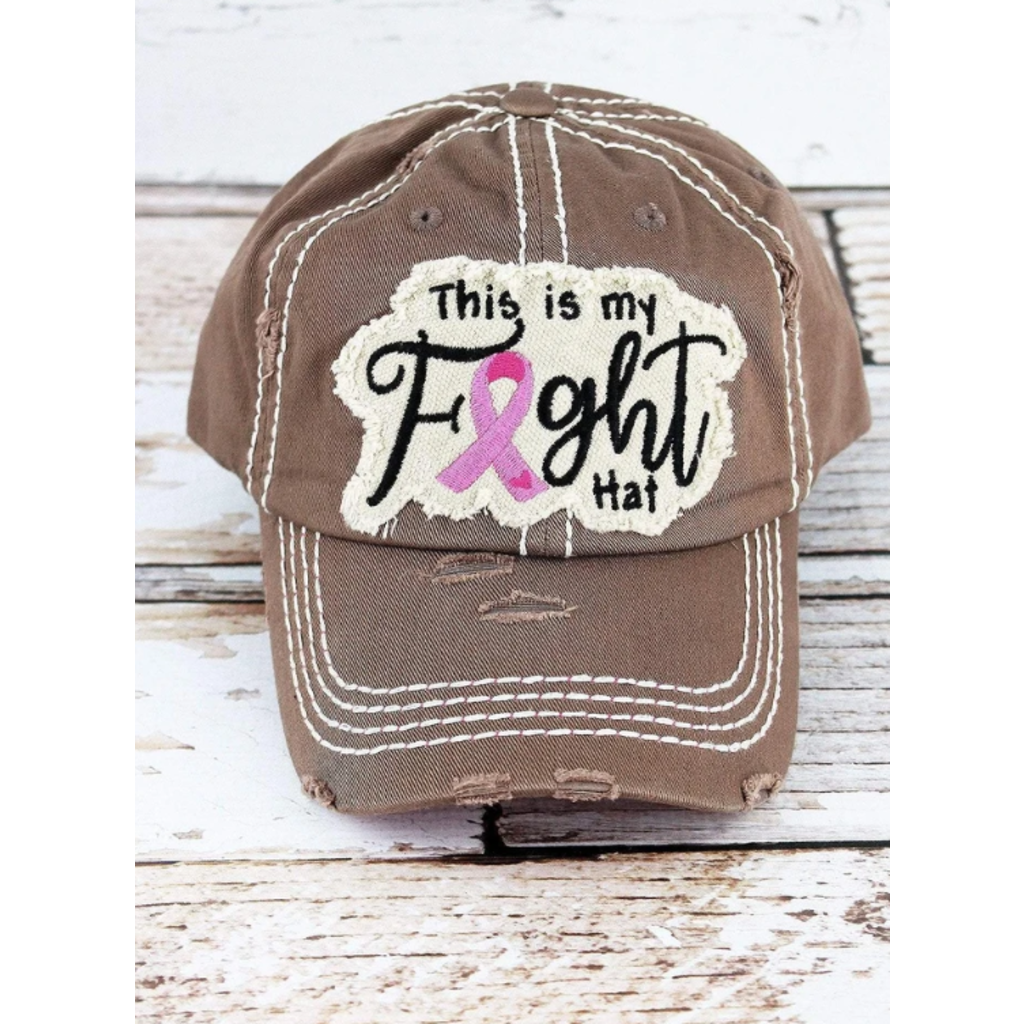 Distressed Mocha 'This Is My Fight Hat' Pink Ribbon Cap