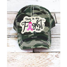 Distressed Camo 'This Is My Fight Hat' Pink Ribbon Cap