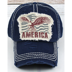 Distressed Navy Eagle America Cap
