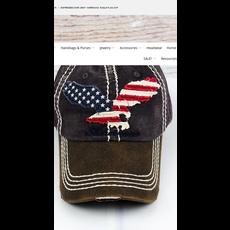 Distressed Dark Gray 'Americana' Eagle Flag Cap