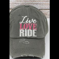 Distressed Steel Gray 'Live Love Ride' Cap