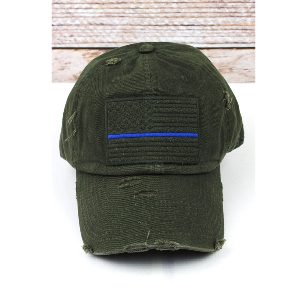 Distressed Olive Subdued Flag with Blue Stripe Tactical Operator Cap