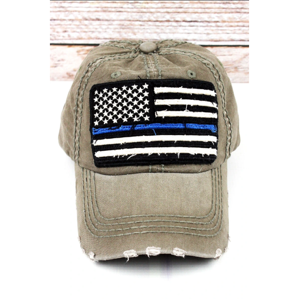 distressed olive thin blue line flag cap