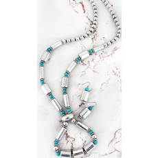 Silvertone and Turquoise Cylindrical & Round Beaded Loop Necklace and Earring Set