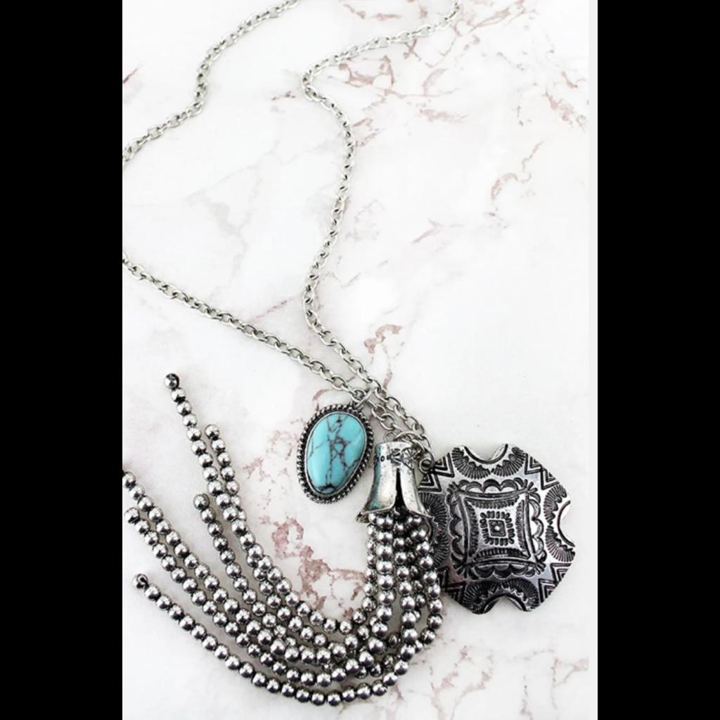 Silvertone Western Engraved Square Cross & Tassel Pendant Necklace