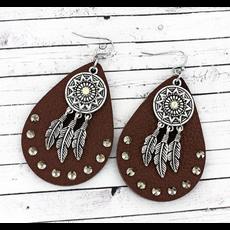 Crystal Faux Leather Teardrop and Dreamcatcher Earrings