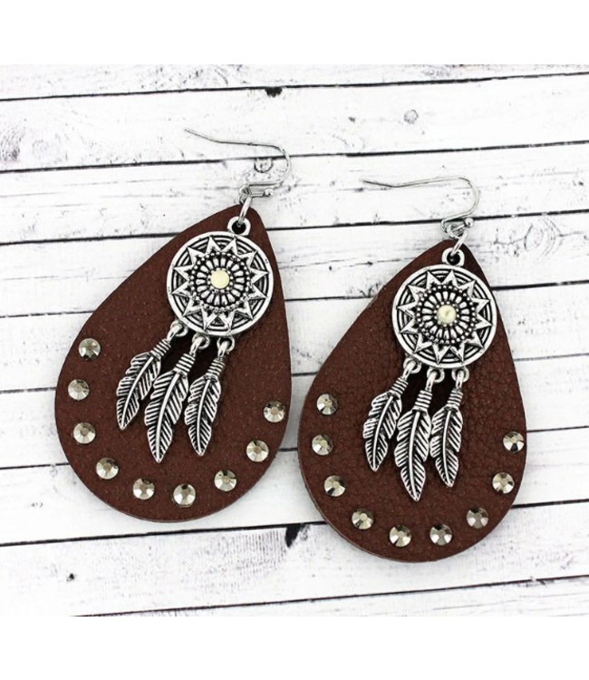 Leather Floral Teardrop Earrings