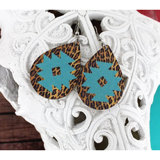 Mint Navajo Star Leopard Teardrop Wood Earrings