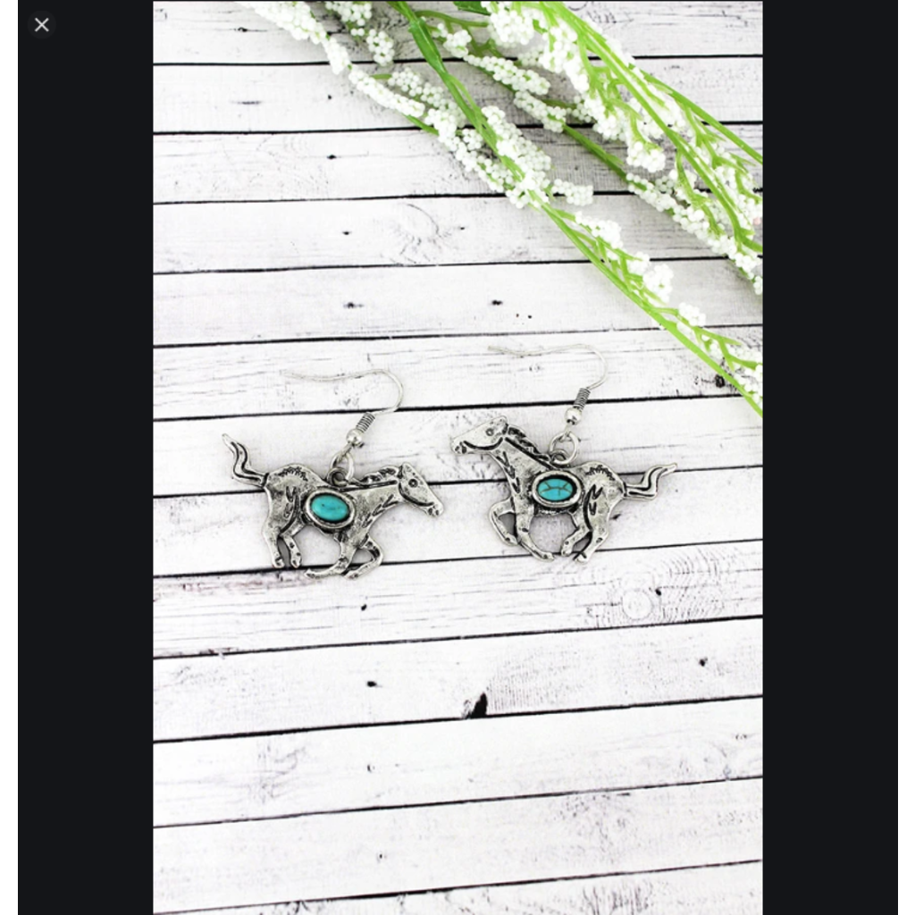 Western Silvertone with Turquoise Bead Running Horse Earrings