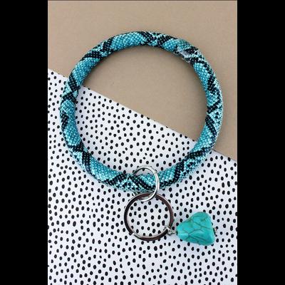 Turquoise Stone Turquoise Blue Snakeskin Bangle Keychain