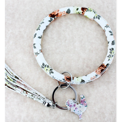 Faux Leather Vintage Flowers Ivory Rooster Tassel Bangle Keychain