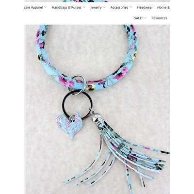 Faux Leather Vintage Flowers Blue Rooster Tassel Bangle Keychain